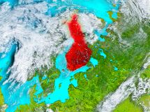 Finland in red on Earth. Finland highlighted in red on planet Earth. 3D illustration. Elements of this image furnished by NASA Royalty Free Stock Photography