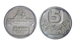 1983 Finland historiepengar, 5 markkaa royaltyfria bilder