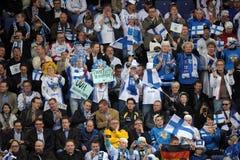 Finland ice hockey fans Royalty Free Stock Image