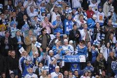 Finland Ice hockey fans. In Helsinki, Hartwall arena Royalty Free Stock Photo