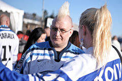 Finland Ice hockey fans. In Helsinki, Hartwall arena Stock Images