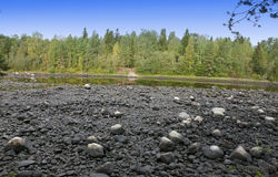 Finland. Imatra. Dry Riverbed of Vuoksa River Stock Photo
