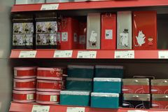 Tin containers for groats and food in the supermarket. Finland, Imatra 12,05,2015 Tin containers for groats and food in the supermarket Royalty Free Stock Photos