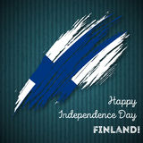 Finland Independence Day Patriotic Design. Expressive Brush Stroke in National Flag Colors on dark striped background. Happy Independence Day Finland Vector Stock Image