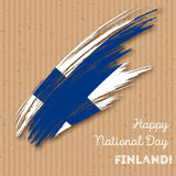 Finland Independence Day Patriotic Design. Expressive Brush Stroke in National Flag Colors on kraft paper background. Happy Independence Day Finland Vector Stock Photography