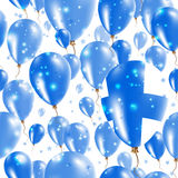 Finland Independence Day Seamless Pattern. Flying Rubber Balloons in Colors of the Finnish Flag. Happy Finland Day Patriotic Card with Balloons, Stars and Royalty Free Stock Photography