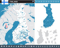 Finland - infographic map and flag illustration. Finland infographic map and flag -  illustration Stock Photos