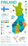 Finland - infographic map and flag - illustration Royalty Free Stock Images