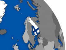 Finland and its flag on globe. Political map Finland with national flag symbol embedded into the country. 3D illustration Royalty Free Stock Photo