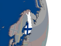 Finland with its flag. Map of Finland with its flag on globe. 3D illustration Royalty Free Stock Image