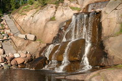 Finland. Kotka town. Park Sapokka. The waterfalls Royalty Free Stock Images
