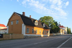 Finland, Kuopio: Street With Old Wooden Houses Royalty Free Stock Photo