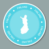 Finland label flat sticker design. Patriotic country map round lable. Country sticker vector illustration Stock Images