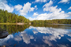 Finland lake. Wide angle view Royalty Free Stock Photos