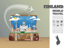 Finland Landmark Global Travel And Journey Infographic luggage.. Finland Landmark Global Travel And Journey Infographic luggage.3D Design Vector Template.vector Royalty Free Stock Photo