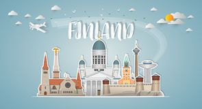 Finland Landmark Global Travel And Journey paper background. Vec. Tor Design Template.used for your advertisement, book, banner, template, travel business or Stock Image
