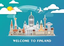 Finland Landmark Global Travel And Journey paper background. Vec. Tor Design Template.used for your advertisement, book, banner, template, travel business or Royalty Free Stock Photography