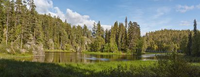 Finland landscape with lake and forest at karhunkierros trail Royalty Free Stock Images