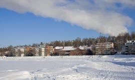 Finland. Lappeenranta. Bevroren meer Saima royalty-vrije stock foto's