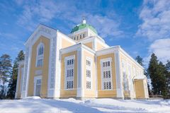 Finland largest wooden church, sunny winter day. Kerimyaki. Finland largest wooden church on a sunny winter day. Kerimyaki royalty free stock photography