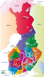 Finland map. Designed in illustration with the regions colored in bright colors and with the main cities. On an illustration neighbouring countries are shown Royalty Free Stock Photography