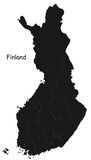 Finland map. Blind map of Finland with regions borders Royalty Free Stock Images