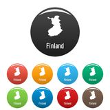 Finland map in black set vector simple Stock Images
