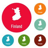 Finland map in black vector simple. Finland map in black. Simple illustration of Finland map vector isolated on white background Stock Photography