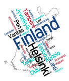 Finland map and cities. Map of Finland and text design with major cities Royalty Free Stock Photography