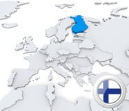 Finland on map of Europe. Highlighted Finland on map of europe with national flag Royalty Free Stock Photography