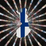 Finland map flag on currency burst illustration. Finland map flag on Currency dollars and euros burst illustration Royalty Free Stock Image