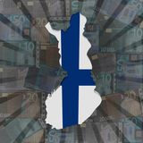 Finland map flag on euros burst illustration. Finland map flag on euros currency burst abstract illustration Royalty Free Stock Photos