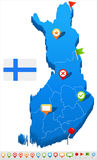 Finland - map and flag illustration. Finland map and flag -  illustration Stock Image