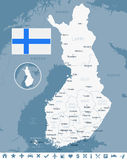 Finland - map and flag illustration. Finland map and flag -  illustration Royalty Free Stock Image