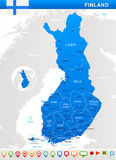 Finland - map and flag illustration. Finland map and flag -  illustration Royalty Free Stock Photography