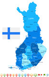 Finland - map and flag illustration Stock Photos