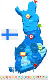 Finland - map and flag illustration Royalty Free Stock Photo