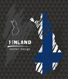 Finland map with flag inside on the blackboard. Chalk sketch vector illustration. Vector sketch map of Finland with flag, hand drawn chalk illustration. Grunge Royalty Free Stock Images