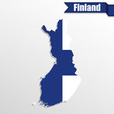 Finland map with flag inside and ribbon. Finland  map with flag inside and ribbon Stock Photography