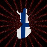 Finland map flag on red hex code burst illustration. Finland map flag on red hex code burst 3d illustration Royalty Free Stock Photo