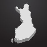 Finland map in gray on a black background 3d vector illustration