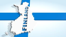 Finland map on national flag Stock Images