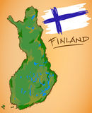 Finland Map and National Flag Vector. Digital Painting Stock Photos