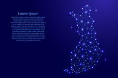 Finland map of polygonal mosaic lines network, rays, space stars of  illustration. Finland map of polygonal mosaic lines network, rays and space stars of Stock Images