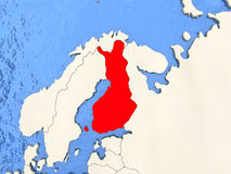 Finland on map. Finland in red on political map with watery oceans. 3D illustration Royalty Free Stock Photo