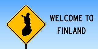 Finland map on road sign. Wide poster with Finland country map on yellow rhomb road sign. Vector illustration Royalty Free Stock Photos