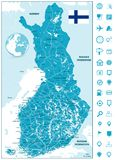 Finland Map and roads with navigation icons. Highly detailed vector illustration of map Stock Photography