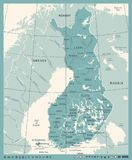 Finland Map - Vintage Detailed Vector Illustration. Finland Map - Vintage High Detailed Vector Illustration Stock Images