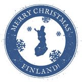 Finland map. Vintage Merry Christmas Finland. Royalty Free Stock Photos