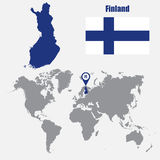 Finland map on a world map with flag and map pointer. Vector illustration. Finland  map on a world map with flag and map pointer. Vector illustration Stock Photography